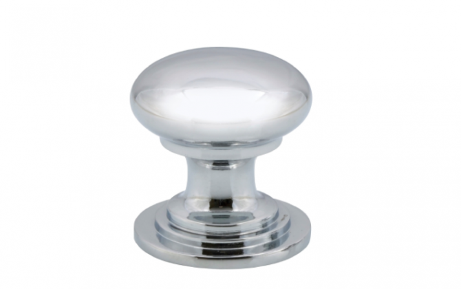 Victorian style polished chrome knob - 32mm